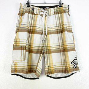 Lost Mens 32 Cream Plaid Swim Trunks Cargo Shorts
